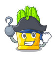 pirate green cereus cactus on character cartoon vector image vector image