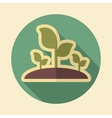Plant sprout retro flat icon with long shadow vector image vector image