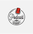 podcast digest logo round linear logo podcast vector image