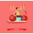 Pregnant woman doing exercises with fitball at vector image