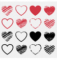 red and heart symbol set isolated transparent vector image vector image