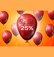 red balloons with an inscription big sale twenty vector image