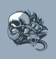 scene from the skull comes a dangerous viper vector image vector image