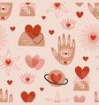 seamless pattern with love boho hand sun eye vector image vector image