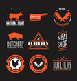 set butchery labels badges and design vector image