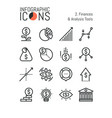 set of thin line icons finances and analysis vector image