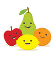 set with cute fruits vector image vector image