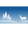 Silhouette of spruce and deer Christmas scenery vector image vector image