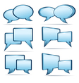 Silver blue 3D and 2D speech bubbles vector image vector image