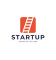 startup step stairs ladder logo design square vector image