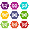 stripped butterfly icon set color hexahedron vector image