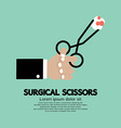Surgical Scissors In Hand vector image vector image