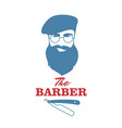 the barber handsome man with beard beret and vector image vector image