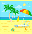tourism summer vacation beach with palm trees vector image