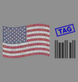 usa flag stylization barcode and grunge tag vector image vector image