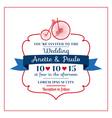 wedding invitation card -vintage bicycle theme vector image vector image