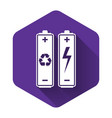 white battery with recycle symbol - renewable vector image vector image