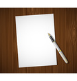 White sheet on a wooden table vector image vector image