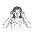 young woman puts on glasses sketch vector image vector image