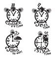 clocks and different food and drinks vector image