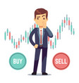 young man trader and business candlestick chart vector image