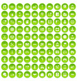 100 auto icons set green vector image vector image
