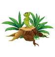 A cameleon above a wood vector image vector image