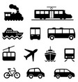 air sea land and public transportation icons vector image