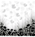 Background flowers and butterflies silhouettes vector image