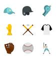 baseball goods icons set flat style vector image vector image