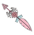 bohemian arrow with feathers and flowers vector image vector image