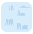 Books on the shelves - simply blue vector image