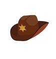 Brown sheriff hat vector image