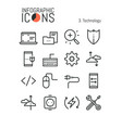 bundle thin line technology icons software vector image