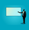 businessman giving a presentation on white board vector image vector image