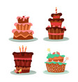 cakes with strawberry and cherry candle and stars vector image vector image