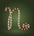 Candy cane abc N vector image