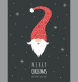 christmas card with cute scandinavian gnome in red vector image vector image