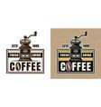 coffee grinder round emblem badge or logo vector image vector image