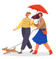 couple walk with dog in park lady with umbrella vector image vector image