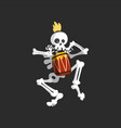 creepy skeleton character playing drum vector image vector image