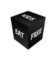 Cube with kids eat free on it