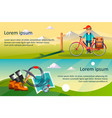 cyclist riding bike hiking and camping equipment vector image