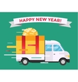 Delivery transport truck van Christmas gift vector image vector image