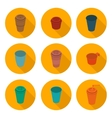 flat icons set isometric color plastic Cup vector image vector image