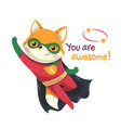 flying little fox super hero with red costume