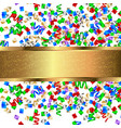 gold banner with colorful confetti and colorful vector image vector image