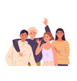 group portrait smiling teenage boys and girls vector image
