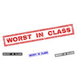 grunge worst in class scratched rectangle stamp vector image vector image