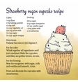 Hand-made vegan cupcake recipe card template with vector image vector image